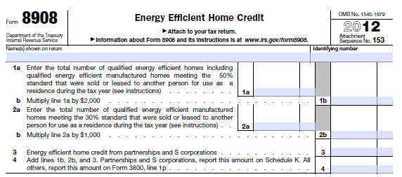 Energy Efficient Home Tax Credit